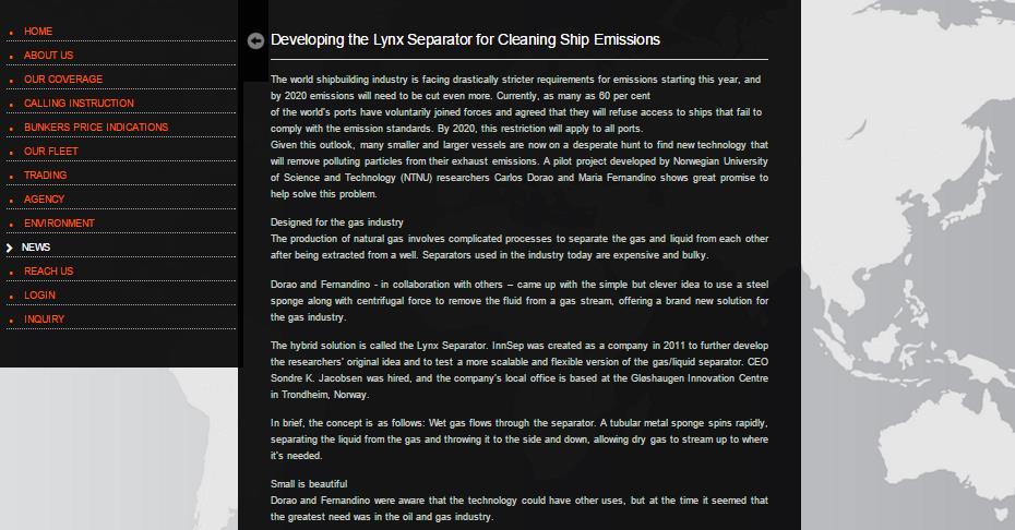 Facsimile of Oil Marketing webpage